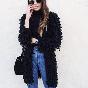 Zara shaggy cardigan in black
